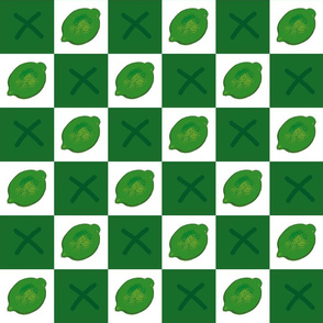 Limes Checkerboard Green  Upholstery Fabric