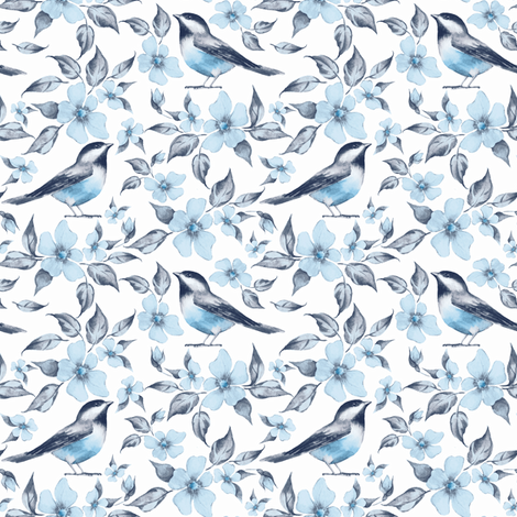 Blue pattern with birds fabric by gribanessa on Spoonflower - custom fabric