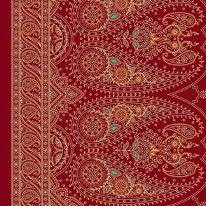 "54"" Double-Edged Red Sari Saree"