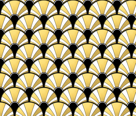 Art Deco Fan in Black, White and Gold Version 1 fabric by suzzincolour on Spoonflower - custom fabric
