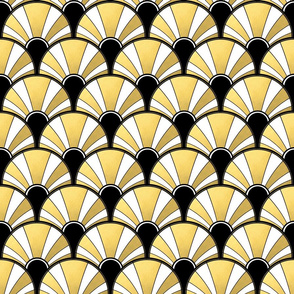 Art Deco Fan in Black, White and Gold Version 1