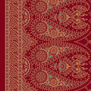 "52"" Double-Edged Red Sari Saree"
