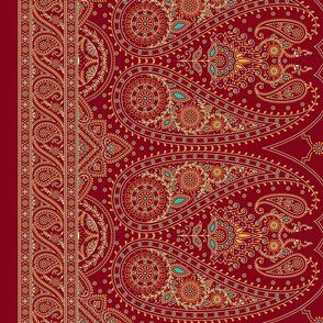 "42"" Double-Edged Red Sari Saree"