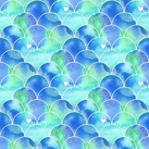 Mini Print Watercolor Mermaid Scales in Aqua and Blue