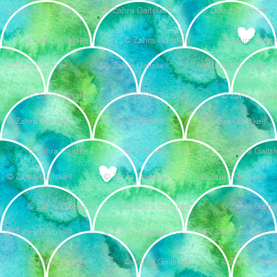 Mini Print Watercolor Mermaid Scales in Green and Blue