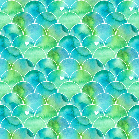 Mini Print Watercolor Mermaid Scales in Green and Blue  fabric by suzzincolour on Spoonflower - custom fabric