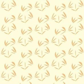 Dusky Apricot Oriental Tussocks on Magnolia Cream - Small Scale