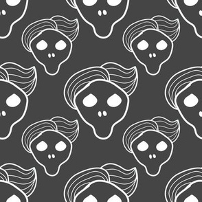 Dark grey skull with trendy hairstyle