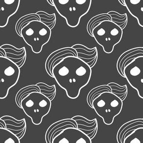 Dark grey skull with trendy hairstyle