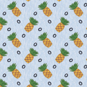 Primitive country pineapples - slate blue