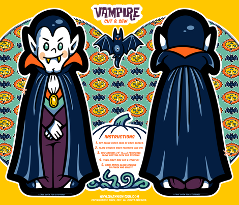 Halloween Hoopla - Vampire - Cut & Sew fabric by shannanigan on Spoonflower - custom fabric