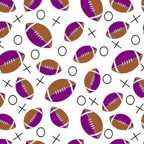 football half purple, tan and white