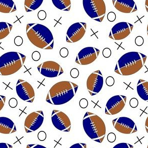 football half  blue, tan and white