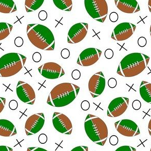 football half green, tan and white