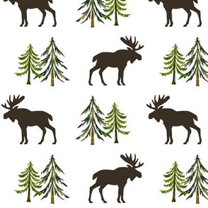 Forest Moose - Woodland Pine Trees Baby Nursery Bedding Kids Children GingerLous