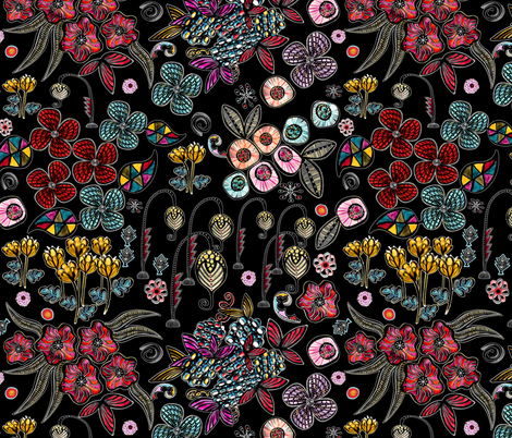 Floral Inspiration (Black) fabric by vannina on Spoonflower - custom fabric