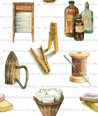 Laundry Room Farmhouse Style Washing with Clothespins, Towels, Soap, Medium Scale