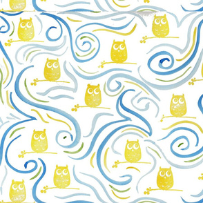 Yellow Owl with Swirl