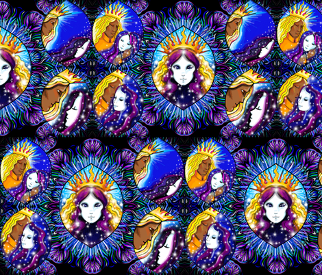 The embrace sun and moon fabric beesocks spoonflower for Sun and moon material