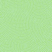 Fibonacci-scallop polkadots - pale blue on light green
