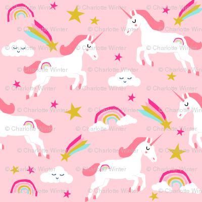 Unicorn Bright Colors Fabric Rainbow Clouds Stars Cute