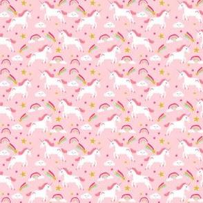 unicorn bright colors fabric rainbow clouds stars cute girls unicorn fabric pink