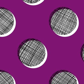 Woven Dots - Black and White on Plum