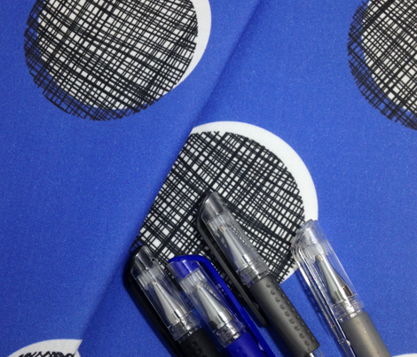 Woven Dots - Black and White on Blue