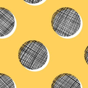 Woven Dots - Black and White on Yellow