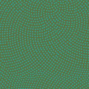 Fibonacci-flower polkadots - teal on olive