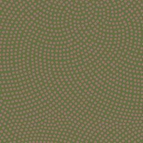 Fibonacci-flower polkadots - terracotta on olive