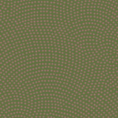 Fibonacci-scallop polkadots - terracotta on olive