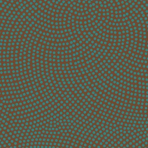 Fibonacci-flower polkadots - teal on brown