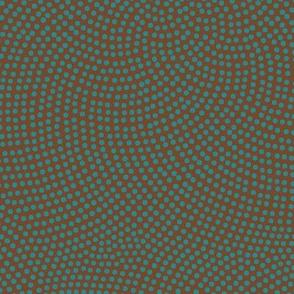 Fibonacci-flower polkadots - teal on brown