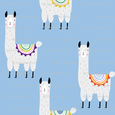 Llama llama blue cute alpaca mexican pattern for kids