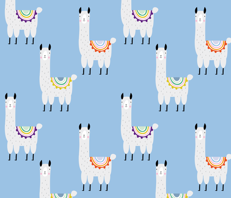 Llama llama blue cute alpaca mexican pattern for kids fabric by paperandpickles on Spoonflower - custom fabric