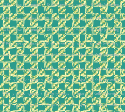 twisty checkerboard - yellow-green on teal