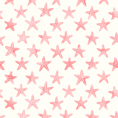 (small scale) starfish - mermaid coordinate (warm) peach  fabric by littlearrowdesign on Spoonflower - custom fabric