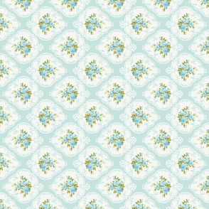 Rotated Aqua Cameo Roses by paris bebe fabrics-ed