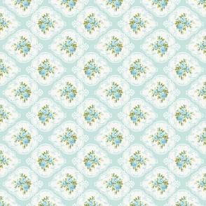Rotated Aqua Cameo Roses by paris bebe fabrics-ed