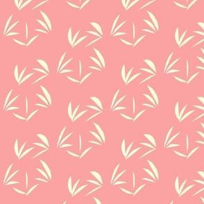 Magnolia Cream Tussocks on Pretty Pink - Medium Scale