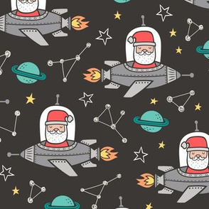 Christmas Santa Claus in Space Rockets, Planets & Constellations