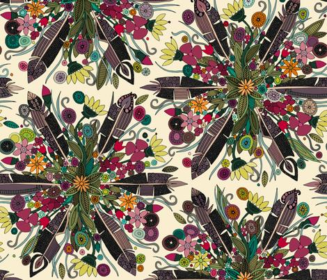 bohemian posy cream fabric by scrummy on Spoonflower - custom fabric