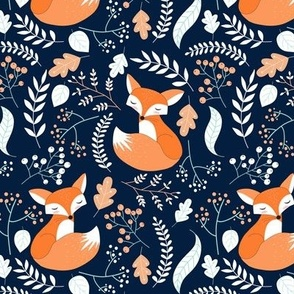 Fox - Sleepy Foxes (navy) Baby Nursery Woodland Animals Kids Childrens Bedding N10