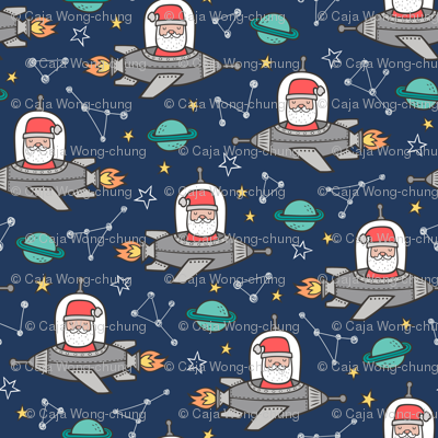 Christmas Santa Claus in Space Rockets, Planets & Constellations on Navy Blue