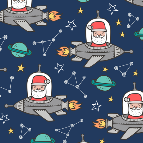 Christmas Santa Claus in Space Rockets, Planets & Constellations on Navy Blue fabric by caja_design on Spoonflower - custom fabric