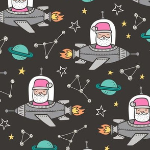 Pink Christmas Santa Claus in Space Rockets, Planets & Constellations