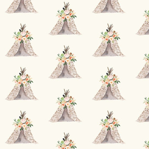 Tribal Teepee with Wild Peaches Floral on Cream