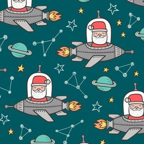 Christmas Santa Claus in Space Rockets, Planets & Constellations on Green Teal