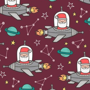 Christmas Santa Claus in Space Rockets, Planets & Constellations on Dark Red